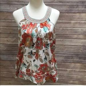 American Rag floral open back women's blouse top